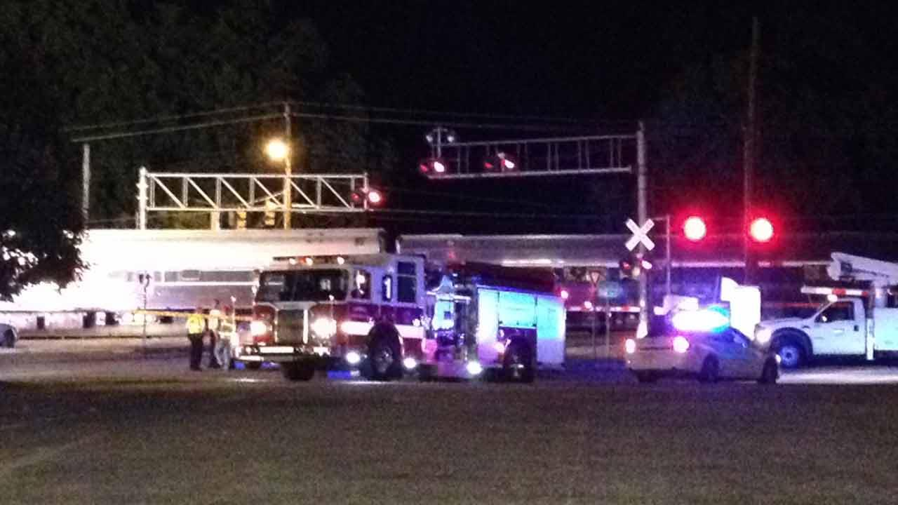 A train struck a car Friday evening on Vandora Springs Road in Garner.