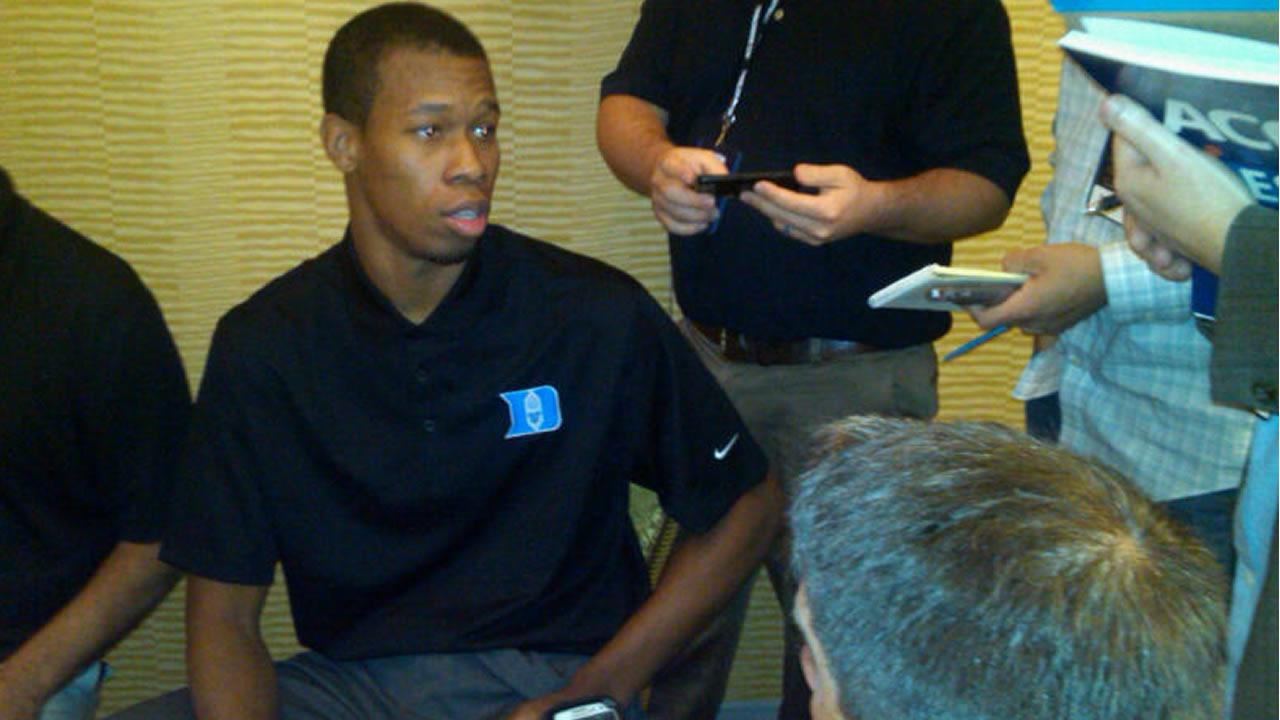 Dukes Rodney Hood talks to media (WTVD Photo/Charlie Mickens)