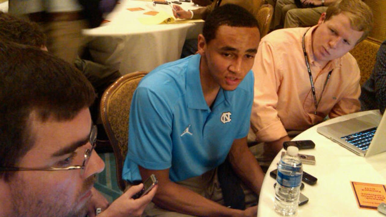 UNCs Marcus Paige talking to the media (WTVD Photo/ Charlie Mickens)