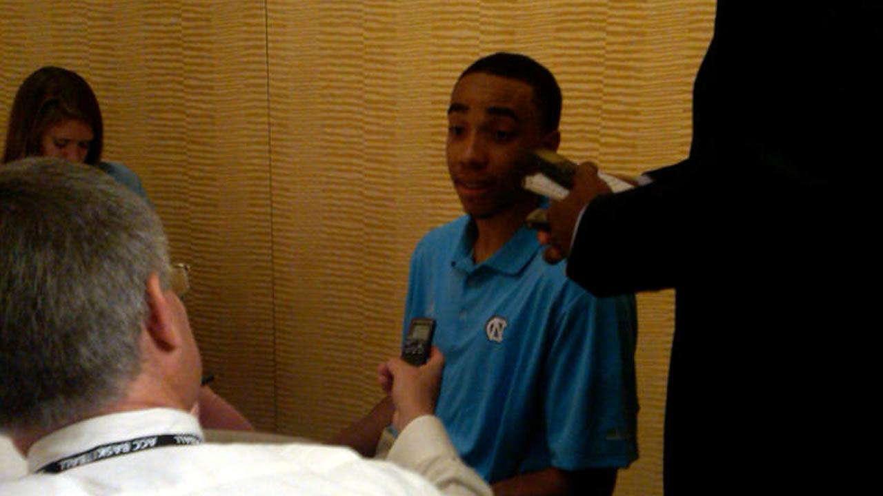 UNCs Brice Johnson talks to media. (WTVD Photo/ Charlie Mickens)
