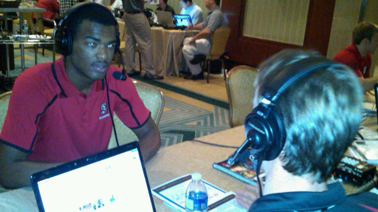 TJ Warren on radio row. (WTVD Photo/ Charlie Mickens)