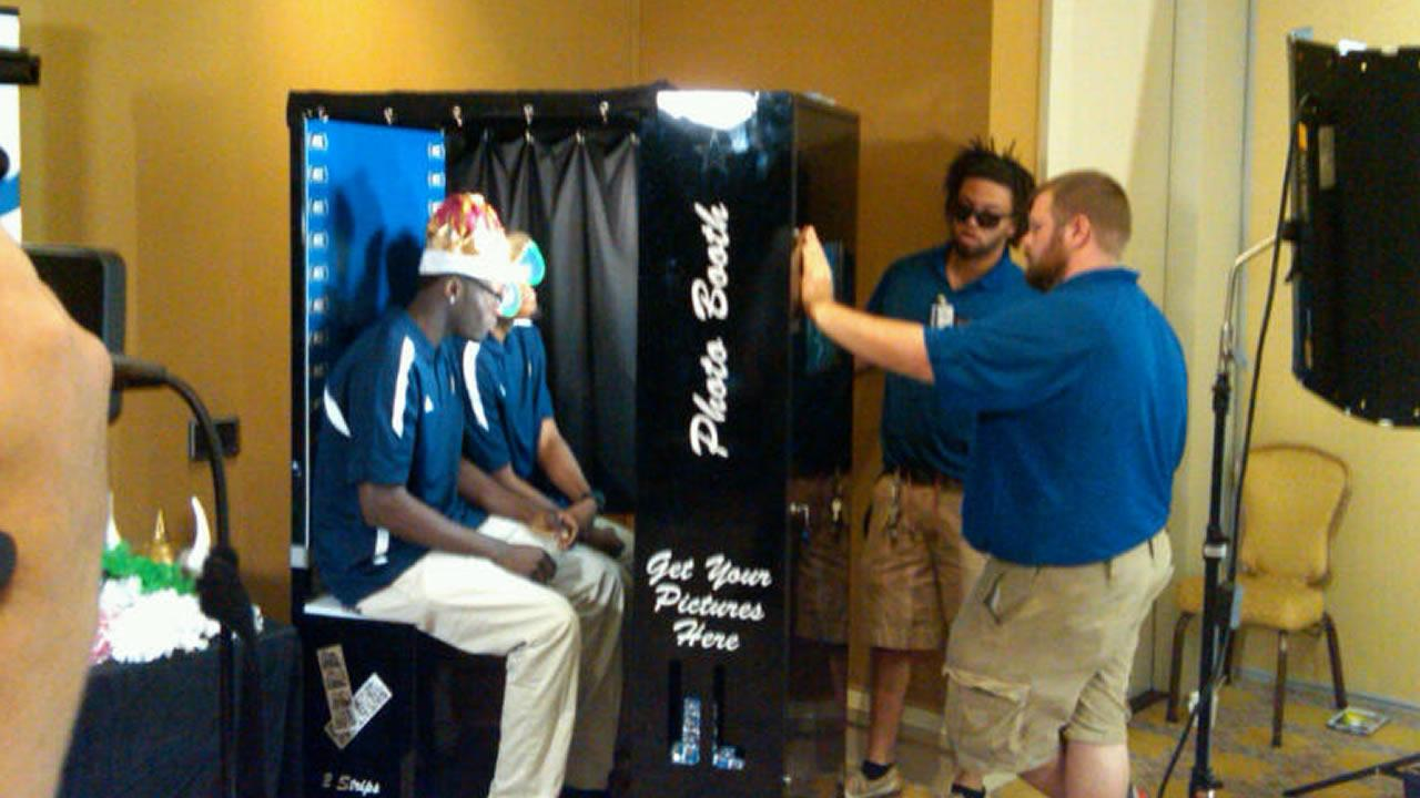 Georgia Tech players in the photo booth (WTVD Photo/ Charlie Mickens)