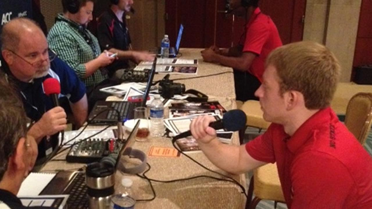 NC State players on radio row. (WTVD Photo/ Charlie Mickens)
