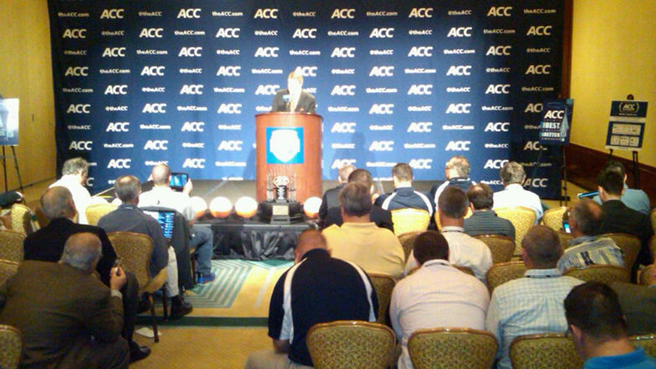 ACC Commissioner John Swofford addresses the media. (WTVD Photo/ Charlie Mickens)