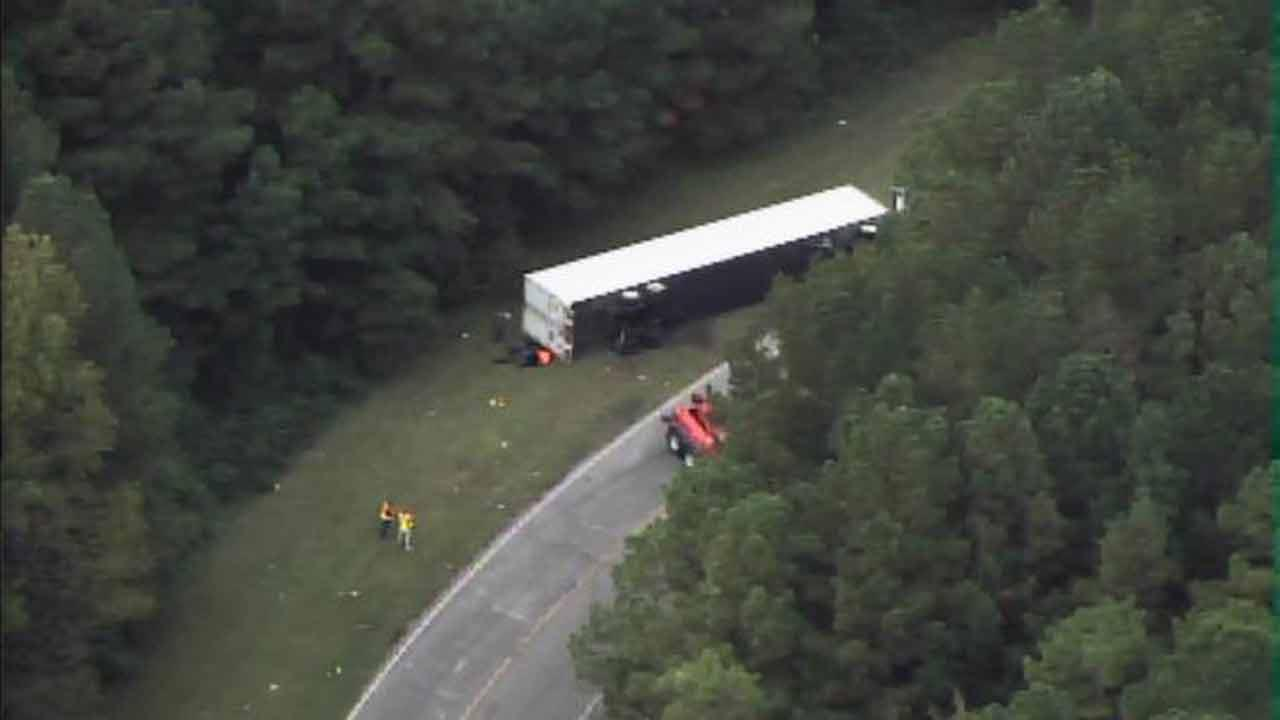 Tractor trailer flips on Herring Avenue in Wilson near U.S. Highway 301