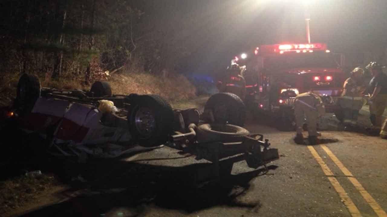 A truck flipped in a serious crash near Selma.