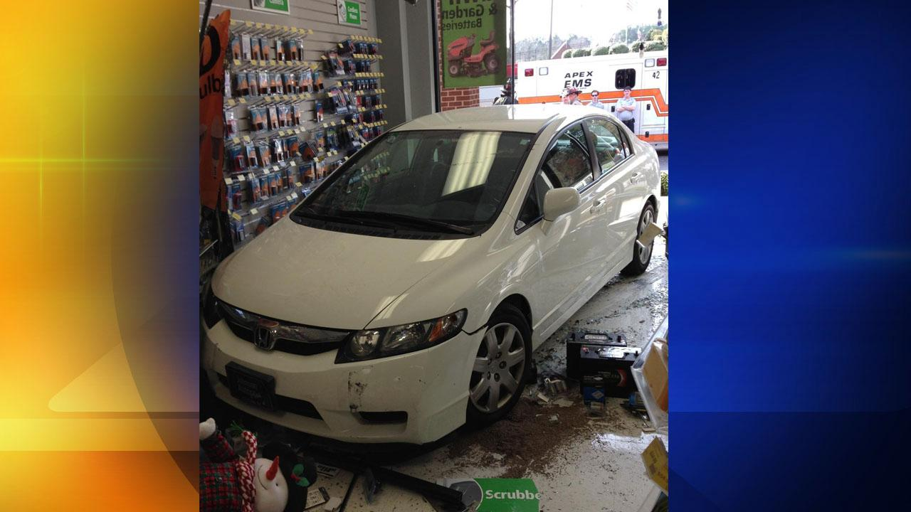 A car crashed into an Apex battery store.