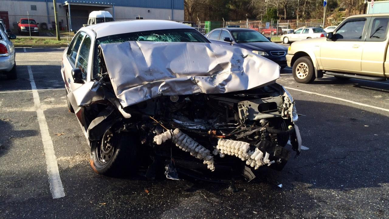 Whats left of  Lt. Shawna Leakes cruiser. <span class=meta>(Anthony Wilson)</span>