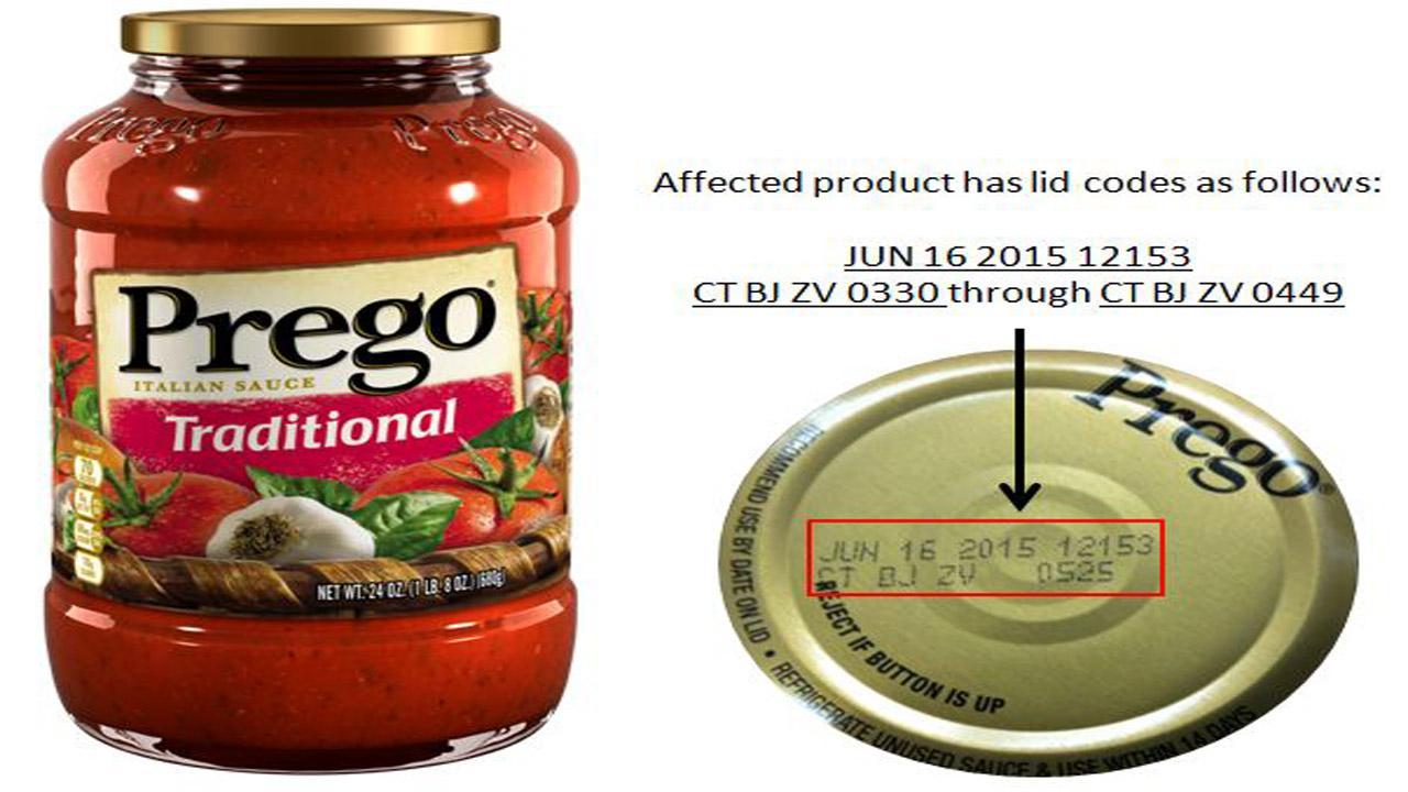 Prego Traditional Italian Sauce recall
