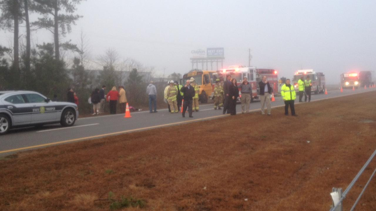 Emergency workers on the scene of an accident in Johnston County Wednesday.Jim Schumacher