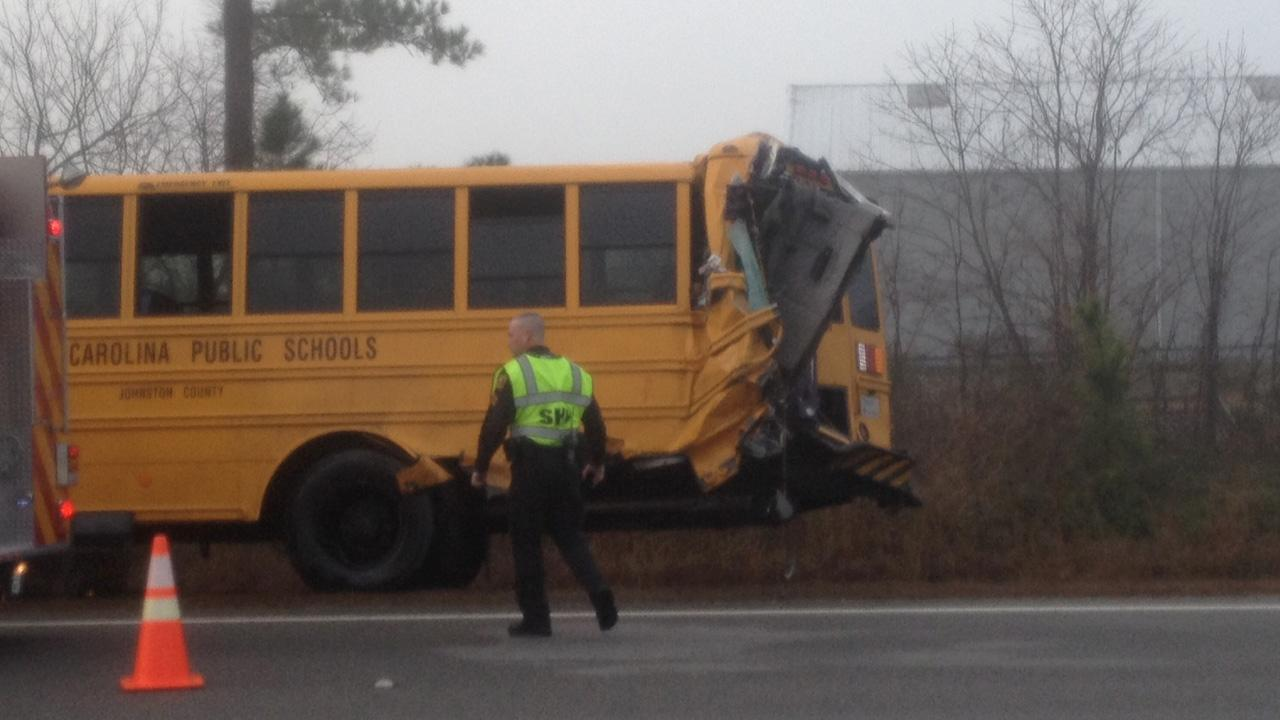 The school bus suffered heavy damage in the crash. <span class=meta>(Jim Schumacher)</span>