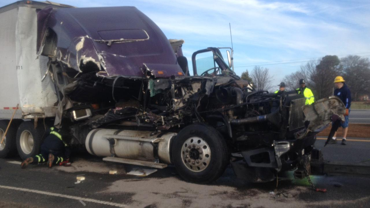 The cab of the truck was destroyed by the impact. <span class=meta>(Jim Shumacher)</span>