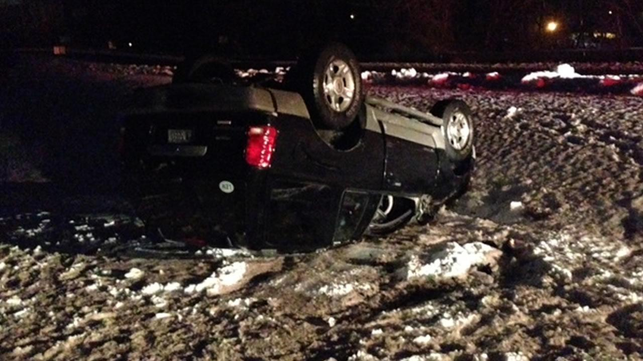 The driver of a sport utility vehicle was the victim of ice on Highway 147 in Durham early Friday.