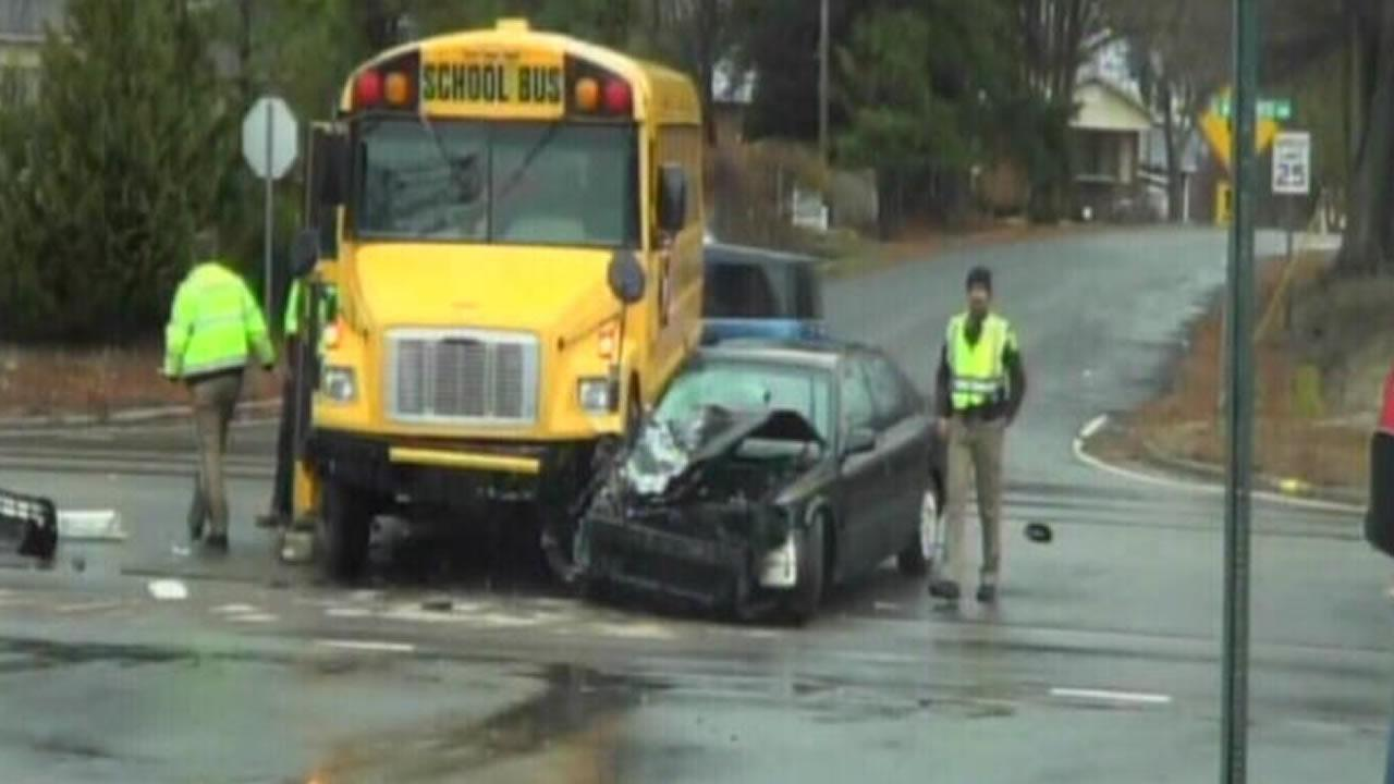 A car and a school bus collided in Durham Monday.