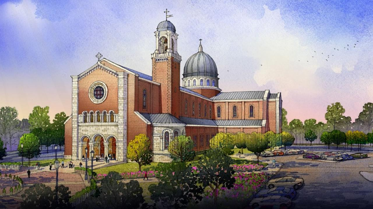 An artists rendering of the Holy Name of Jesus Cathedral (image courtesy Diocese of Raleigh)