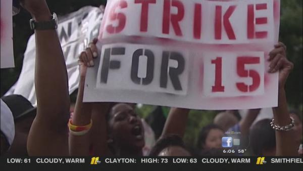 Fast food workers demand more money