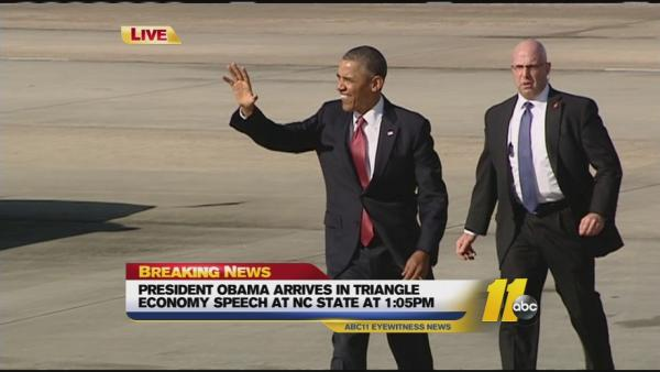 President Obama arrives in North Carolina