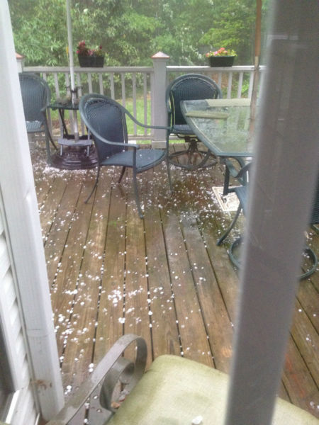 A strong thunderstorm dumped parts of the Triangle with heavy rains and hail Tuesday evening. <span class=meta>(April Perry&#47;WTVD)</span>