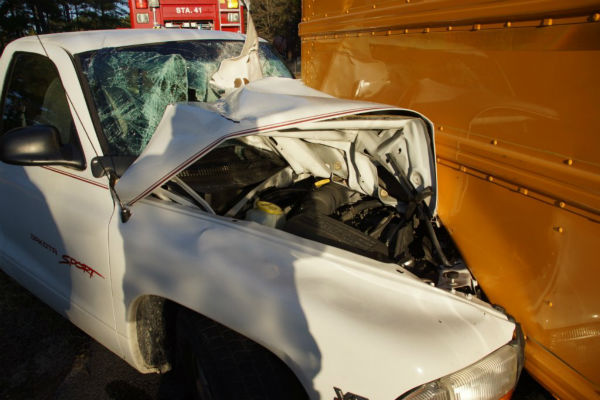 "<div class=""meta image-caption""><div class=""origin-logo origin-image ""><span></span></div><span class=""caption-text"">The Highway Patrol said a pickup truck driver may have been blinded by the sun when he struck a school bus on Roseland Road Thursday morning around 7:20 a.m. The truck driver, 22-year-old Suave Cain, was flown to UNC Chapel Hill Hospital. He was last listed in good condition. No one on the bus was injured. (WTVD Photo/ Libby Staples)</span></div>"