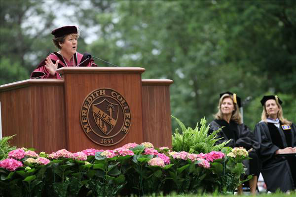 This was the first commencement for President Jo Allen, &#39;80, since her return to Meredith to serve as the College&#39;s first alumna president. <span class=meta>(Meredith College)</span>