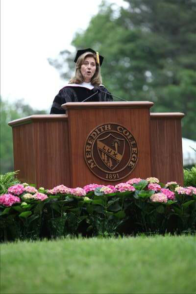 Alumna Silda Wall Spitzer, &#39;80, delivered the 2012 commencement address.  <span class=meta>(Meredith College)</span>