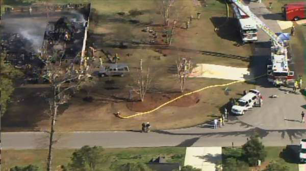 "<div class=""meta ""><span class=""caption-text "">A fire destroyed a home in Lee County Wednesday afternoon. It happened at Winterwind Circle and Windjammer Court in Sanford. (Photo/WTVD Photo)</span></div>"