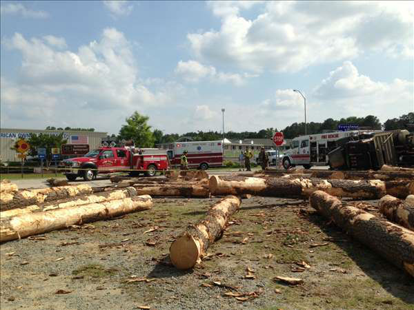 "<div class=""meta ""><span class=""caption-text "">I-95 northbound was closed Tuesday afternoon at exit 90 due to log truck accident. The driver, 47-year-old Randy Locklear, of Laurinburg, was taken to WakeMed. (WTVD Photo/ Jason Thompson)</span></div>"
