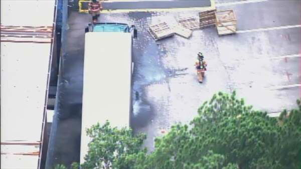 "<div class=""meta ""><span class=""caption-text "">Crews responded to the Town and Country Hardware in the 2400 block of SW Cary Parkway Tuesday afternoon after a sodium hydroxide solution leaked from a semi-truck. (Photo/WTVD Photo)</span></div>"