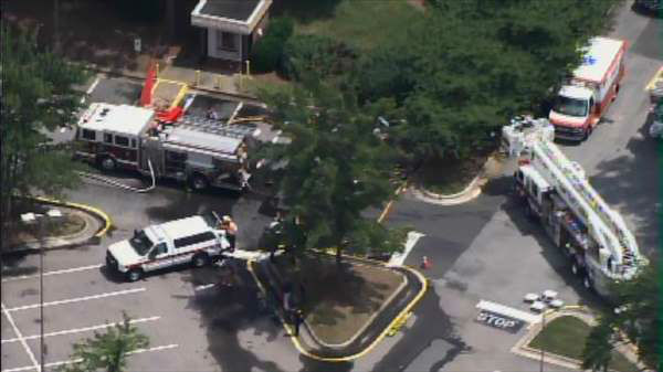 Crews responded to the Town and Country Hardware in the 2400 block of SW Cary Parkway Tuesday afternoon after a sodium hydroxide solution leaked from a semi-truck. <span class=meta>(Photo&#47;WTVD Photo)</span>