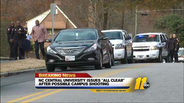 "<div class=""meta ""><span class=""caption-text "">NC Central University Police issued an active shooter warning for campus Thursday afternoon (WTVD Photo)</span></div>"
