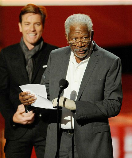 Morgan Freeman accepts the award for favorite movie icon during the People's Choice Awards on Wednesday, Jan. 11, 2012 in Los Angeles.