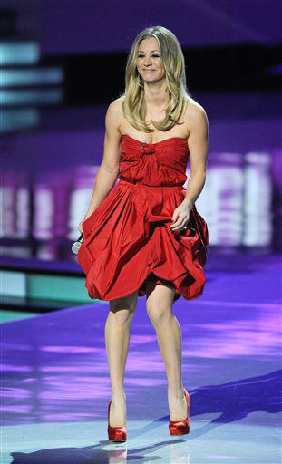 "<div class=""meta ""><span class=""caption-text "">Kaley Cuoco during the People's Choice Awards on Wednesday, Jan. 11, 2012 in Los Angeles. (AP Photo/Chris Pizzello)</span></div>"