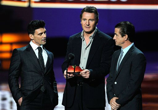 From left, Frank Grillo, Liam Neeson and Dermot Mulroney on stage during the People's Choice Awards on Wednesday
