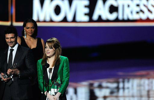 "<div class=""meta ""><span class=""caption-text "">Emma Stone accepts an award during the People's Choice Awards on Wednesday, Jan. 11, 2012 in Los Angeles. (AP Photo/Chris Pizzello)</span></div>"