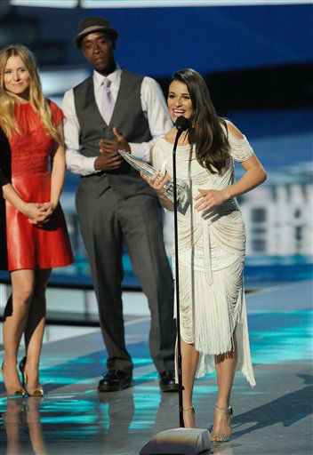 Lea Michele accepts an award during the People's Choice Awards on Wednesday, Jan. 11, 2012 in Los Angeles.
