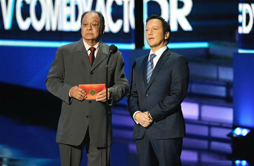 Cheech Marin, left, and Rob Schneider on stage...