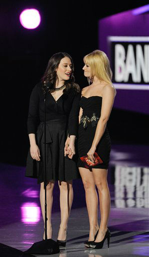 Kat Dennings, left, and Beth Behrs on stage...