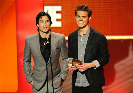 "<div class=""meta ""><span class=""caption-text "">Ian Somerhalder, left, and Paul Wesley on stage during the People's Choice Awards on Wednesday, Jan. 11, 2012 in Los Angeles. (AP Photo/Chris Pizzello)</span></div>"