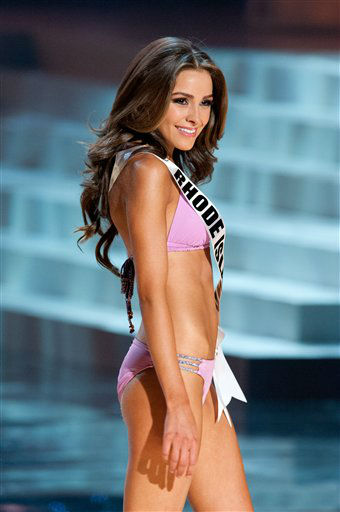 Miss Wyoming poses in a bikini during the Miss...