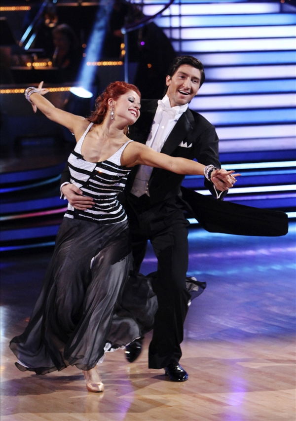 In this publicity image released by ABC, Evan Lysacek, right, and his dance partner Anna Trebunskaya perform on the celebrity dance competition series &#34;Dancing With the Stars,&#34; on Monday, May 24, 2010 in Los Angeles.  <span class=meta>(AP&#47;ABC, Adam Larkey)</span>