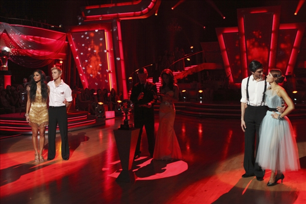 In this image provided by ABC  the remaining two teams, Nicole Scherzinger, Derek Hough, left, and  Evan Lysacek, Anna Trebunskaya flank Tom Bergeron, Brooke Burke after performing a fourth and final dance Tuesday May 25, 2010. Scherzinger and Hough dominated throughout the 10th season of the hit ABC show and bested Olympic gold medalist Evan Lysacek and partner to win the &#34;Dancing&#34; crown Tuesday night. <span class=meta>(AP&#47;ABC - Adam Larkey)</span>