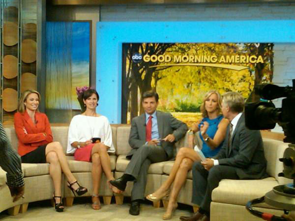 The Good Morning America team chats during a...