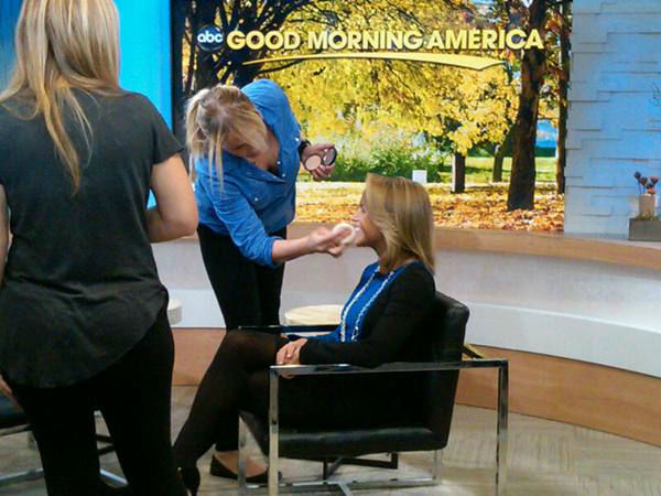 Katie gets one last makeup check before her interview with George. <span class=meta>(WTVD Photo&#47; Elizabeth Plyler)</span>