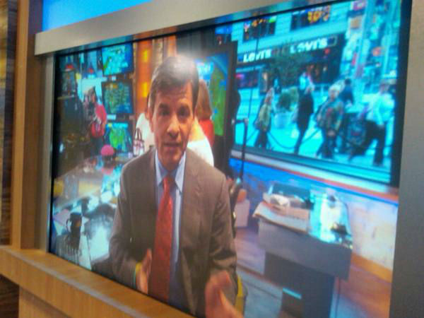 One of the huge studio TVs. <span class=meta>(WTVD Photo&#47; Elizabeth Plyler)</span>