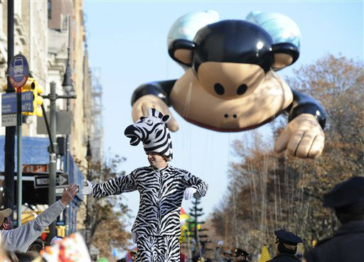 A zebra costumed marcher  is followed by the...