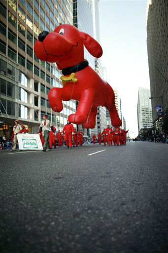 The Clifford The Big Red Dog balloon makes it's...
