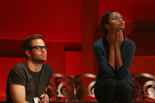 "<div class=""meta ""><span class=""caption-text "">Actors Chris Pine, left, and Zoe Saldana watch rehearsals for the 85th Academy Awards in Los Angeles, Saturday, Feb. 23, 2013.  (AP Photo/Matt Sayles)</span></div>"