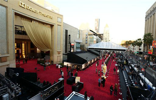 People prepare the red carpet at the Dolby Theatre for the 85th Academy Awards in Los Angeles, Saturday, Feb. 23, 2013.  <span class=meta>(AP Photo&#47;Matt Sayles)</span>