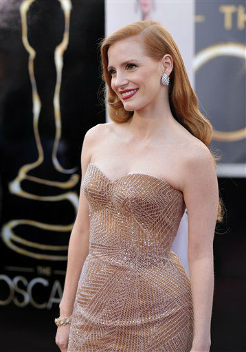"<div class=""meta ""><span class=""caption-text "">Actress Jessica Chastain arrives at the 85th Academy Awards at the Dolby Theatre on Sunday Feb. 24, 2013, in Los Angeles. (Photo by John Shearer/Invision/AP)</span></div>"