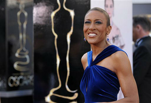 TV personality Robin Roberts arrives at the 85th Academy Awards at the Dolby Theatre on Sunday Feb. 24, 2013, in Los Angeles. (Photo by John Shearer/Invision/AP)